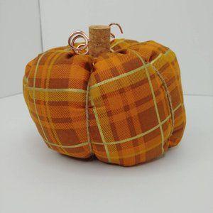 Stuffed Fabric Pumpkin, orange plaid